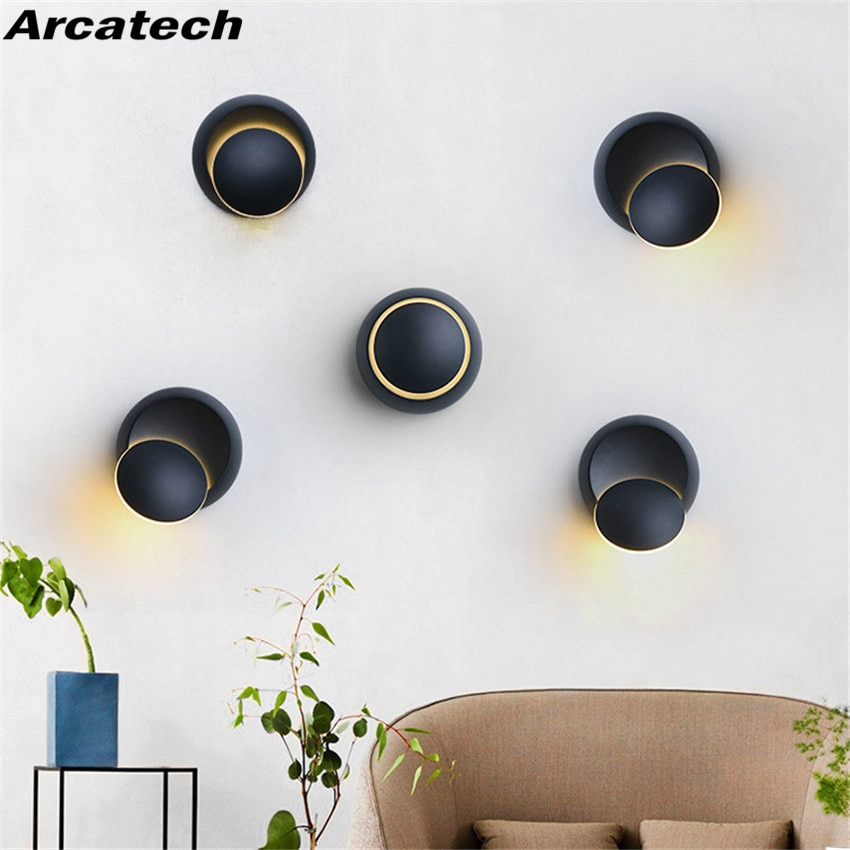 Round 5W LED Wall Lamp 360 degree Rotation Adjustable Bedside Lamp Modern Creative Personality  Aluminum Wall  Sconce NR-107