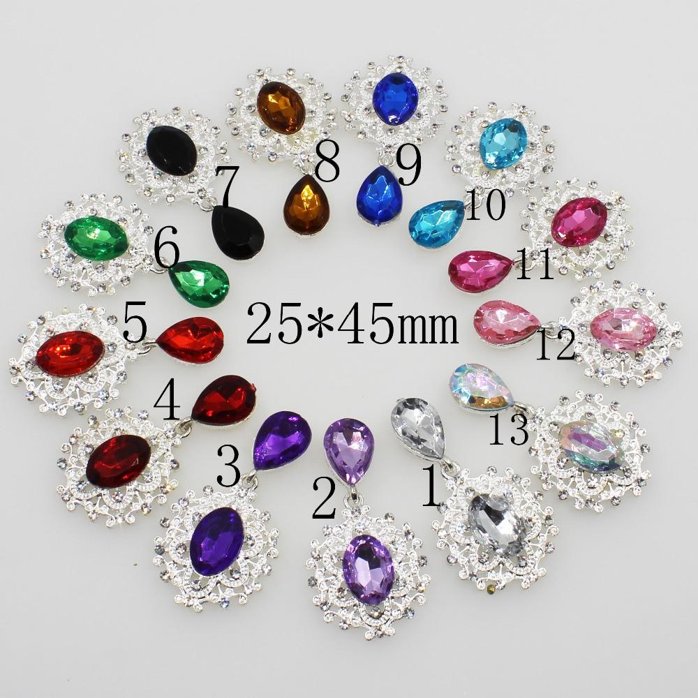 De moda Mini 10pc 25*45mm de diamantes de imitación de plata botón boda copa de vino Decoraation ropa de bricolaje accesorios de artesanía