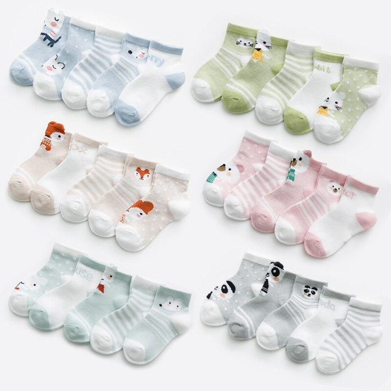 5pairs/pack Baby Toddler Sock Fox Pattern 0-24M Mesh Cotton Summer Socks For Newborns Baby Girl Socks Babies Socks For Baby Boys