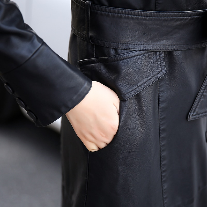 Women Long Leather Jacket 2019 New Fashion Ladies Elegant Washed PU Leather Coats Trench Female Outerwear With Belted Plus Size enlarge