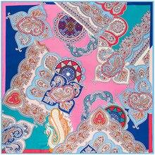 Foulard en soie imprimé style bohémien   Foulard femmes en sergé, écharpe Paisley Bandana de marque de luxe, Foulard carré pour femmes, nouvelle collection 2020