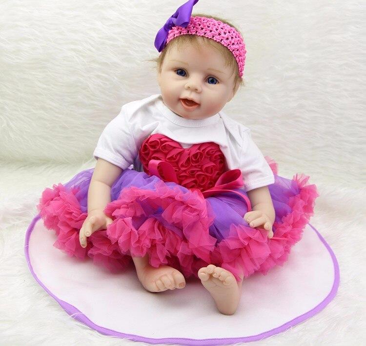 Bebe muñeca juguetes reborn 22 pulgadas 55cm de cuerpo suave de silicona renacer muñecas bebé regalo oyuncaklar realista niña metoo lalka renacer