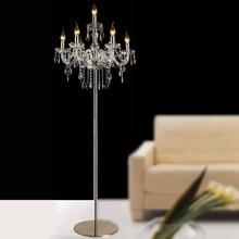 Gratis verzending luxe mode korte romantische bed k9 crystal floor lamp voor woonkamer moderne staande lamp voor woonkamer