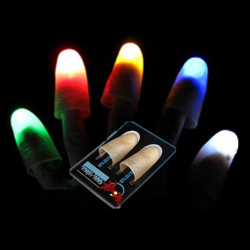 LumiParty 1 par mágica creativa guantes láser de luz LED truco de magia dedo luces para baile fiesta iluminación