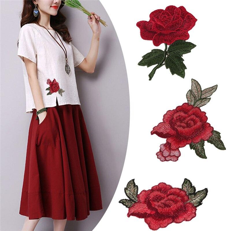 Rose Blume Stickerei Stoff Nähen Auf Patch Tasche Hut Kleidung Kleid Applique Handwerk
