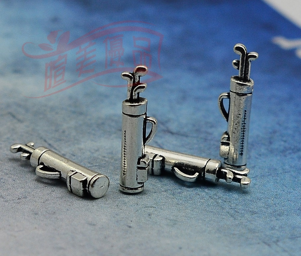 20pcs/lot--23x6mm, Antique silver plated 3D golf bag charms,DIY supplies,Jewelry accessories