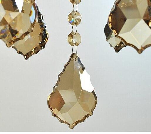 100 pcs lote 38mm cor champanhe cristal maple leaf prisma do candelabro pecas pingente frete gratis