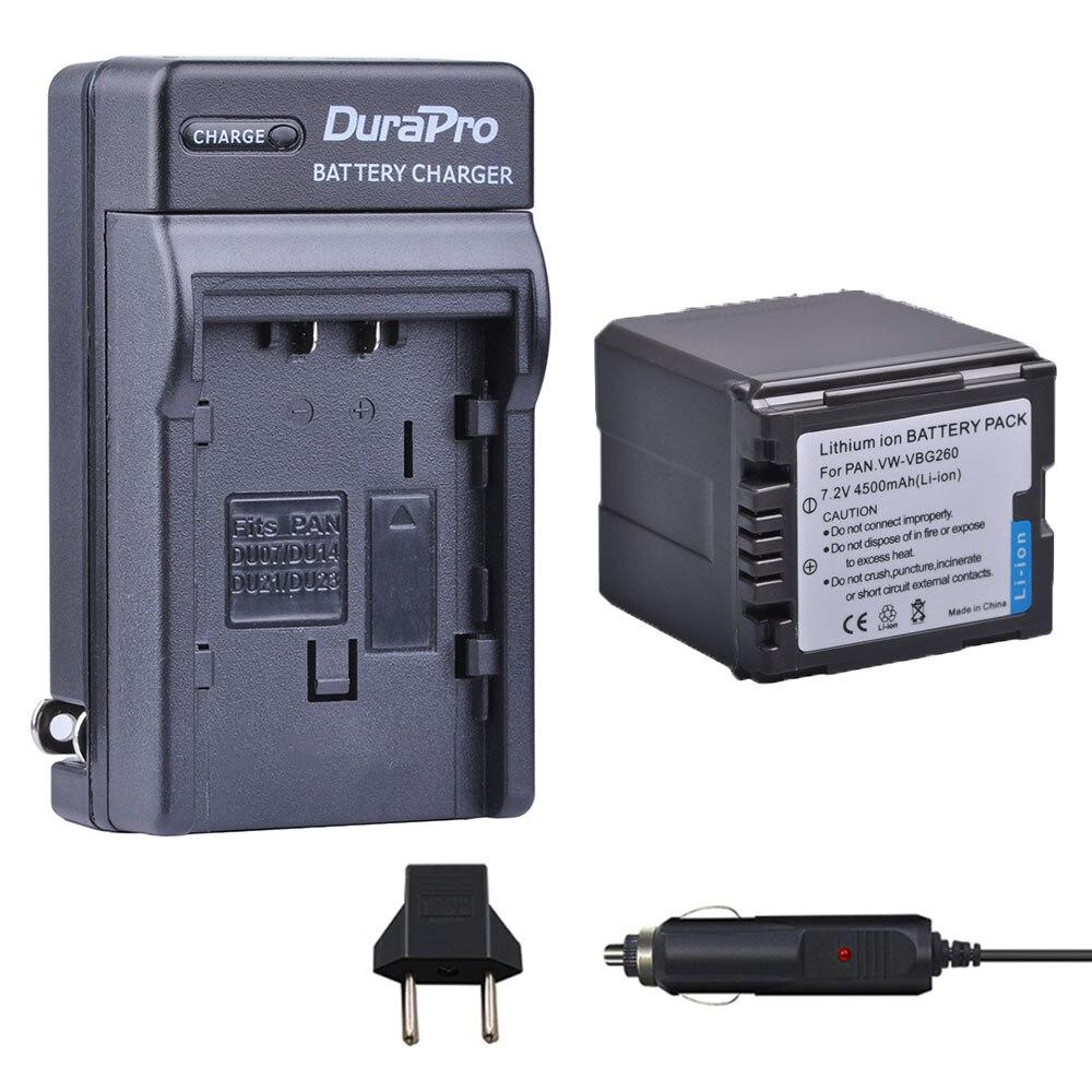 1 pc 4500 mah Bateria + Carregador de Carro Para Panasonic VW-VBG260 VW VBG260 HDC-SD3 HDC-SD5 HDC-SD7 VDR-D310 VDR-D50 VDR-D51 SDR-H200
