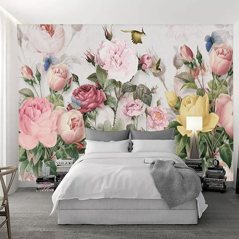 beibehang pastoral flowers wallpaper for walls 3d wall paper for wall 3 d classic embossed tv room bedroom wall paper home decor Photo Wallpaper 3D Flowers Murals European Style Pastoral Landscape Wall Paper For Walls 3 D Living Room Bedding Room Home Decor