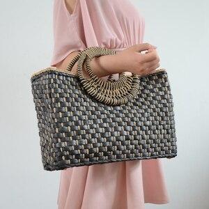 ABDB-Hand Basket Shopping Bag Black Color Bali Island Hand Woven Bag Straw Bags Satchel Wind Bohemia Beach Bag