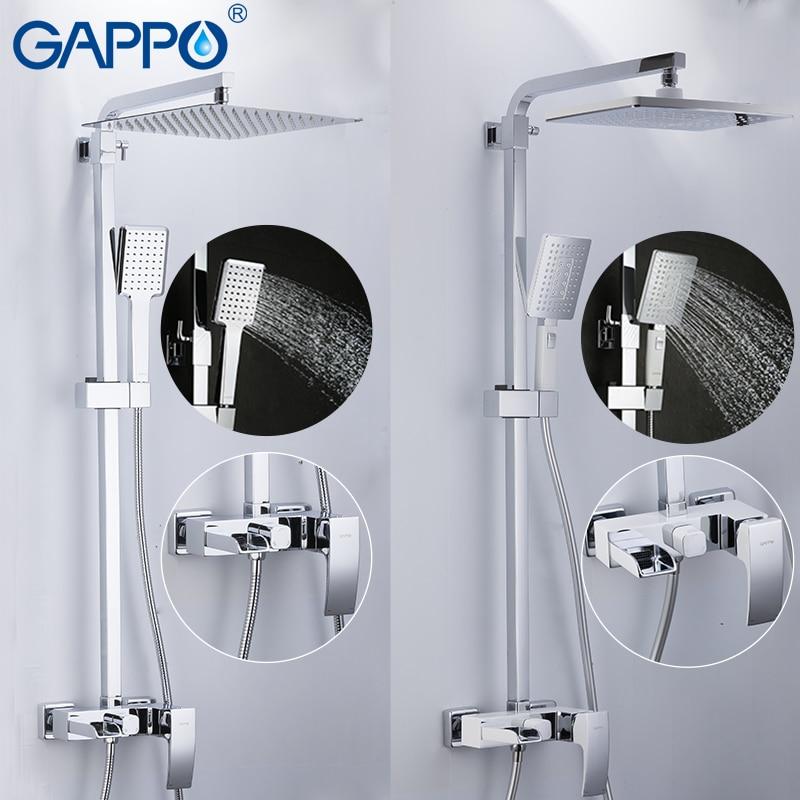 GAPPO-حنفيات حوض الاستحمام النحاسية ، مجموعة دش مثبتة على الحائط ، رأس دش تدليك ، صنابير دش الحمام