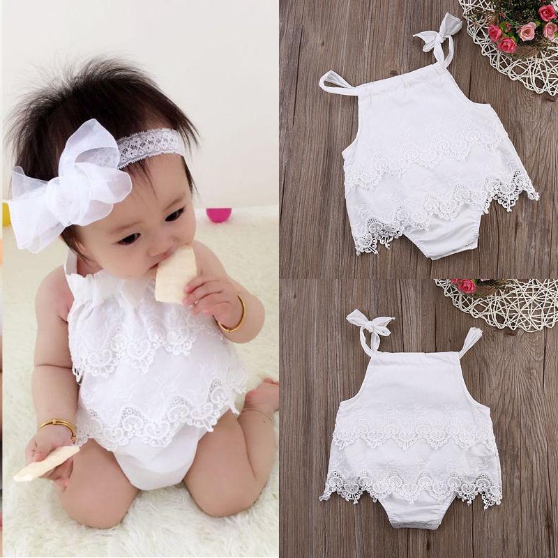 Combinaison pour bébé fille sans manches   En dentelle, motif floral blanc, mignon, barboteuse, combinaison, vêtements C, tendance