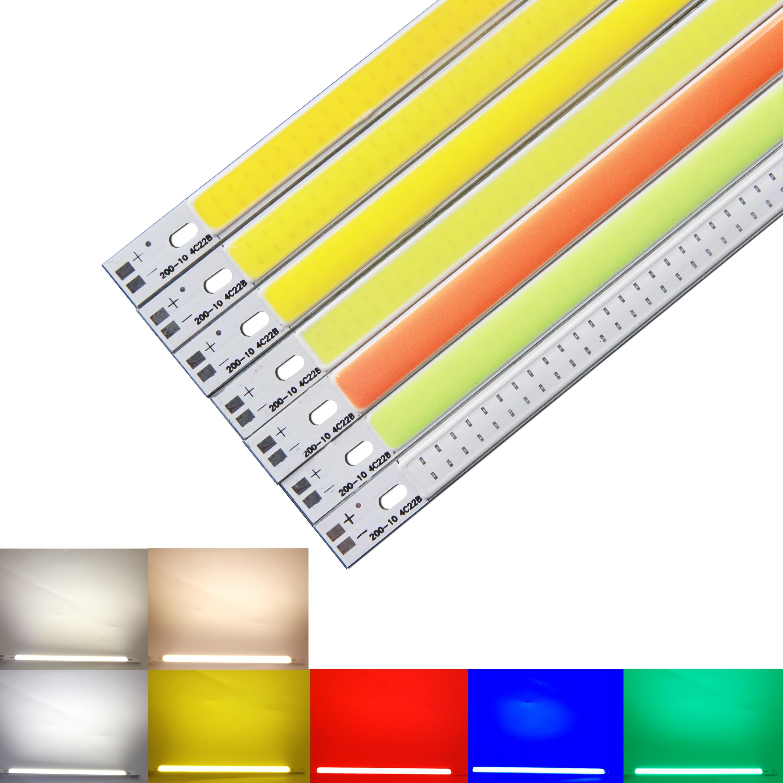 10 piezas 200mm 10mm dc 12 V cob led 10 W cálida naturaleza blanco Azul Rojo verde amarillo para luz de coche diy barra de luz fuente