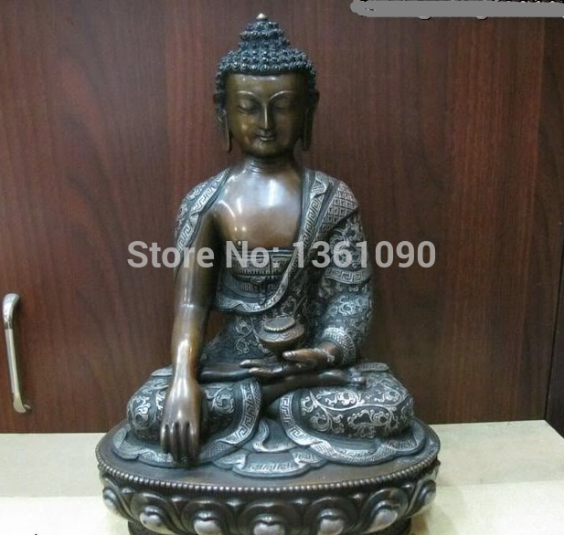 Xd 00680 Tíbet Budismo Purple Bronce Tathagata Sakyamuni Buddha Estatua de Plata Dorada