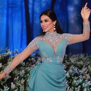 New Arrival Long sleeve evening dresses 2020 Hand Beaded robe de soiree musulman Evening dress Party gowns Arabic evening dress