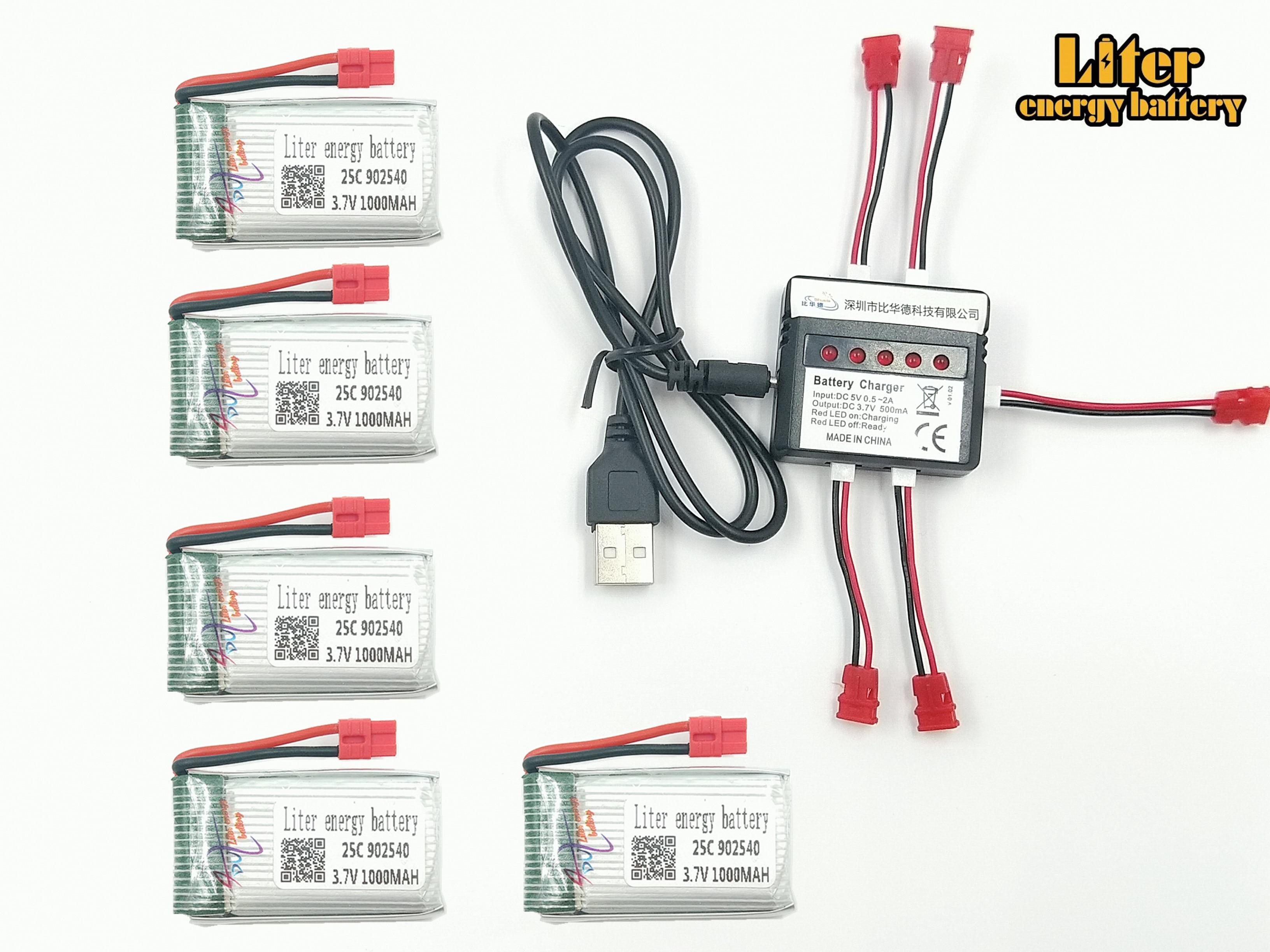 3,7 V 1000 mAh 902540 25c LiPo batería para SYMA X5hw x5hc RC Drone Quadcopter + AC 5in1 cargador de repuesto juego de piezas de