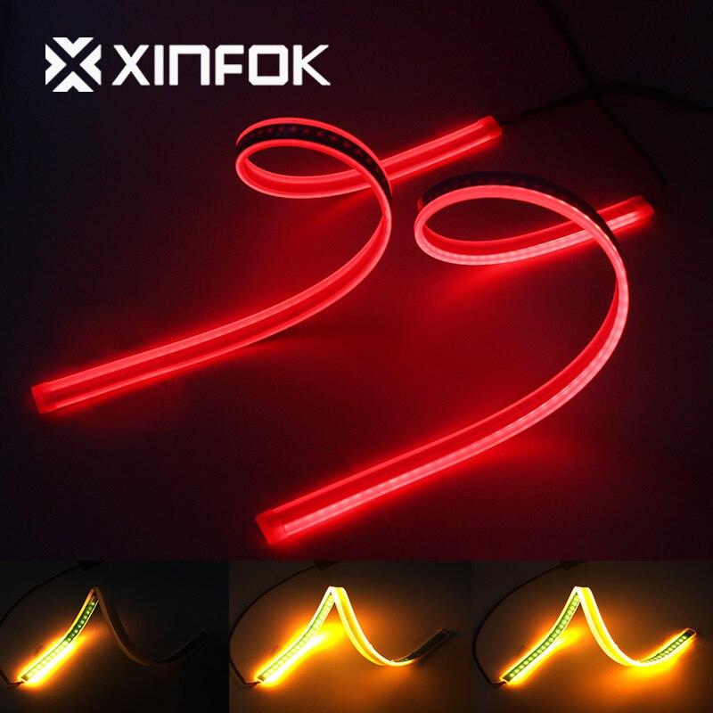Luz de circulación diurna impermeable DRL de 60cm, tira Flexible de luces LED de freno para coche, señal de giro trasera de reserva, luces de motos de flujo amarillo 2x
