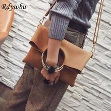 Bolso de mano grande con anillo de Metal de Rdywbu, moderno europeo, para mujer, de piel sintética, bandolera, nueva, B475