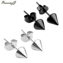 PiercingJ 1-10 pairs 22G (0,6mm) silbrig/Schwarz Edelstahl Spike Kegel Ohr Stud Ohrring Punk Coole Männer Frauen
