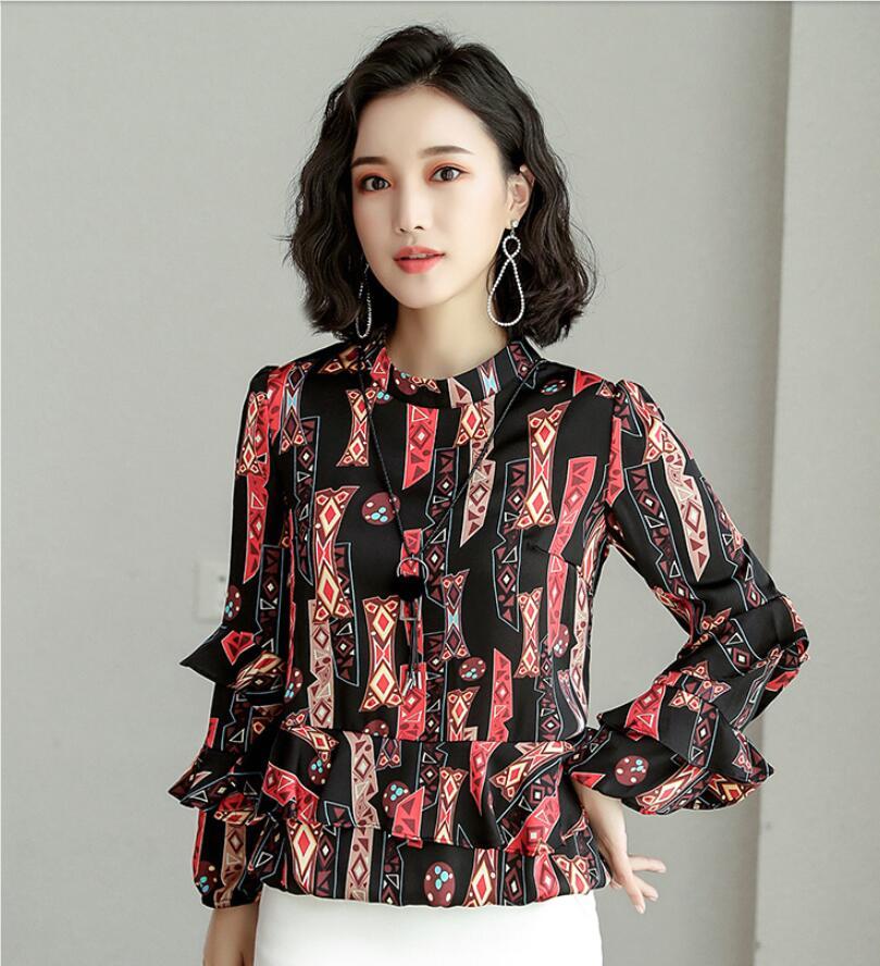 Chiffon Shirt Women's Autumn 2018 New Spring Korean Fashion Clothing Fashion Ruffled Floral Tops Elegant Women Blouses Tops