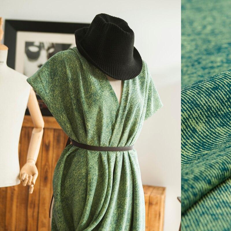 Ткань из чистого шелка, имитация джинсовых принтов, зеленый, легкий блеск, гладкая, пришивная блузка, юбка, платье, ручная работа