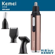 Kemei 4 in 1 전기 코 트리머 충전식 여성 얼굴 관리 수염 면도기 코 & 귀 남자의 귀 코 헤어 커터