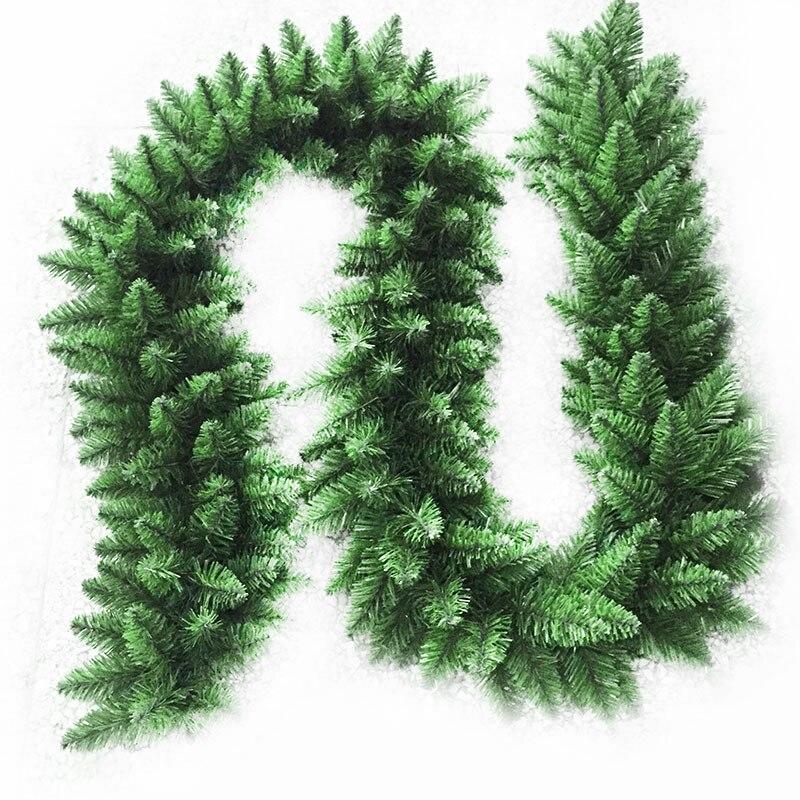 Guirnalda de Navidad verde Artificial de 2,7 m, guirnalda de Navidad, decoración de fiesta en casa, decoración de Navidad, decoración colgante de pino y ratán para niños