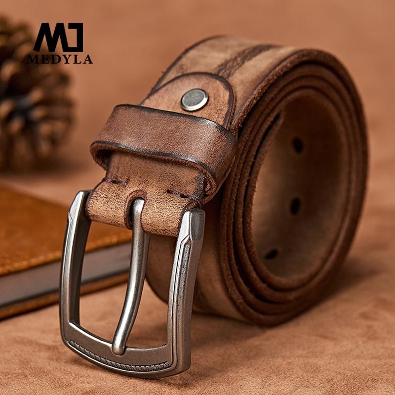 MEDYLA  Original Cowhide Leather Belt Men Leather Belts for Jeans Casual Design Cowboy Waistband Handmade Green Color Strap