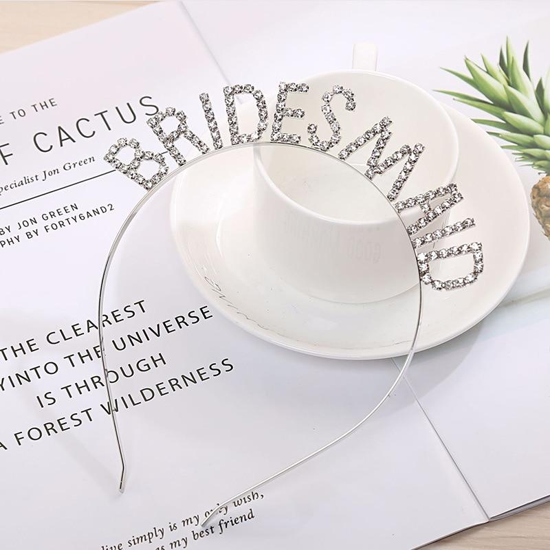 Hen Party Crown Tiara Headband Bridal Shower Golden 1PC Hairband Bachelorette Hair Accessories Bridesmaid Rhinestone Wedding