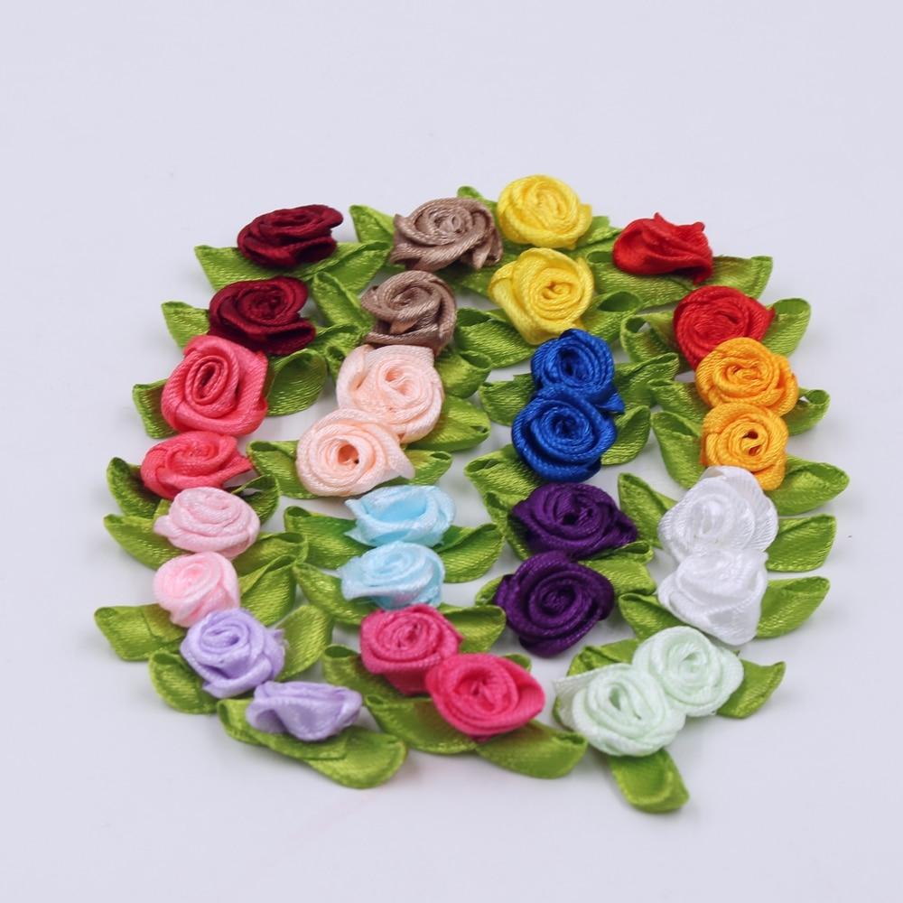 2CM 50 teile/los Seide Bogen-Knoten Mini Rosette für Home Hochzeit Party Band Kuchen Kleidung Dekoration Scrapbooking DIY handwerk Liefert