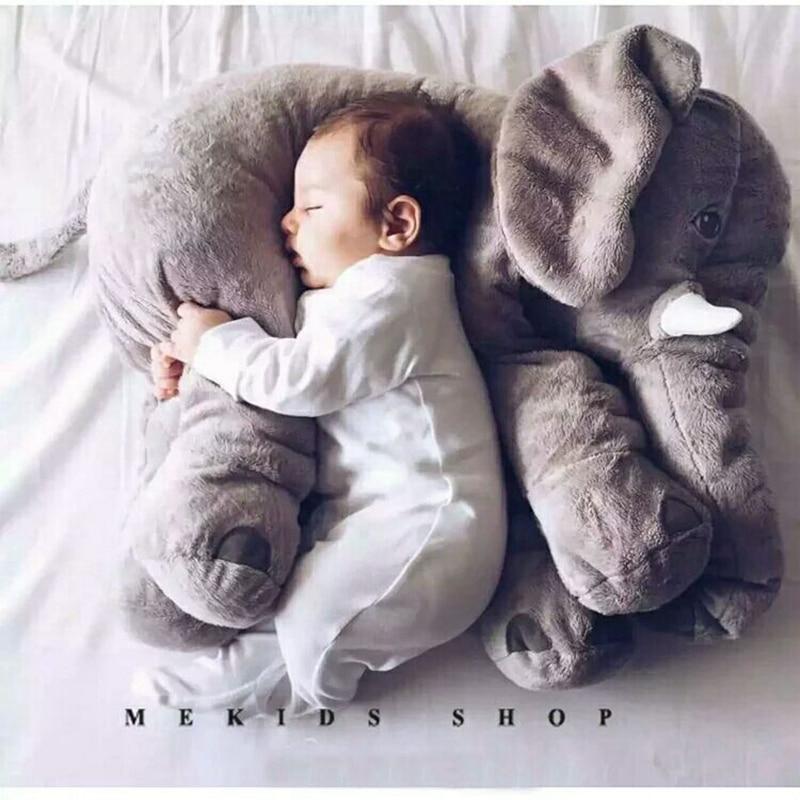 60cm 80cm Height Kawaii Plush Elephant Doll Toy Kids Sleeping Back Cushion Cute Stuffed Elephant Baby Accompany Doll Xmas Gift