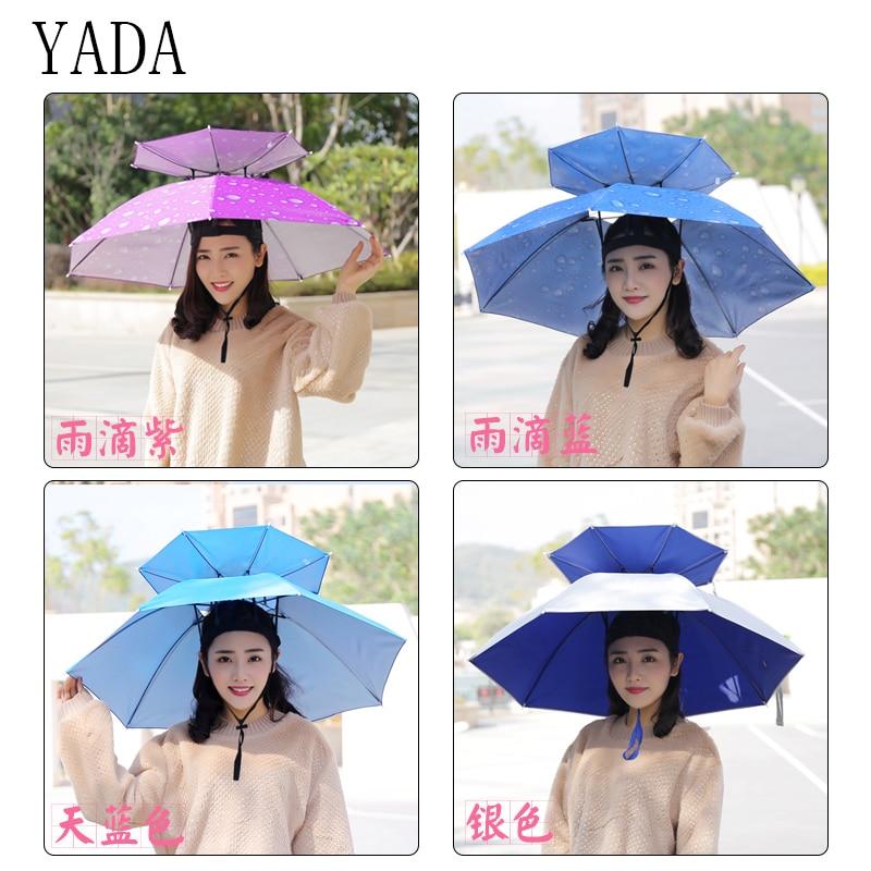 YADA 2018 Outdoor Large Double Layer Fishing Umbrella Hat Hiking Camping Beach Sunshade Sunny Rainy Cap For Men Women Umbrellas