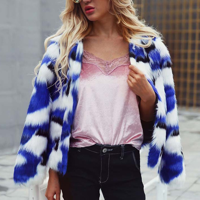 Mixing Color Faux Fur Coat Women Fluffy Warm Female Outerwear Nice Winter Coat Jacket Long Sleeve Hairy Overcoat Plus Size7Q2187