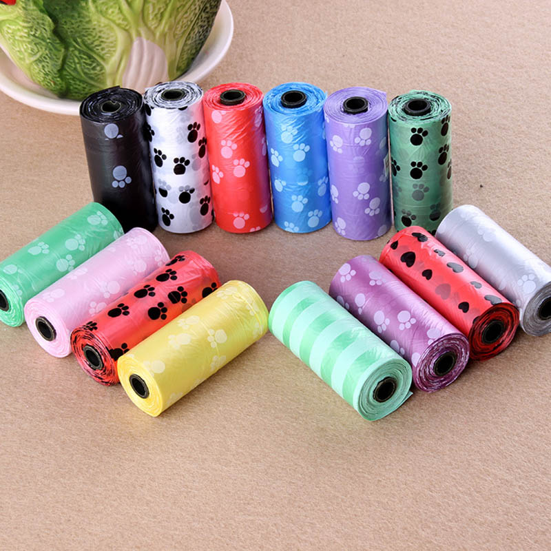 10 rollos de impresión de patas perro Bolsa para popó 15 bolsas/rollo grande gato bolsas de residuos perrito al aire libre hogar limpieza rellenar bolsa de basura