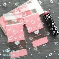 100pcslot mini plastic packaging bags pink heart shaped 5x10cm gift bag lipstick packaging bag self adhesive bags