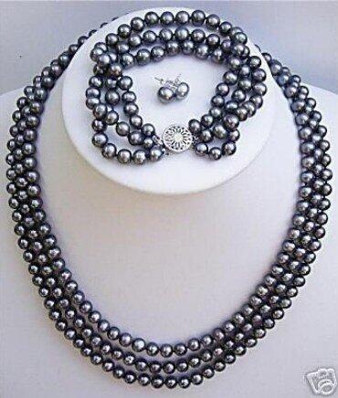 Collar de pulsera TAHITI con perlas negras de agua dulce, pendientes AKOYA, envío gratis