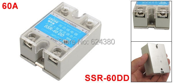Ssr-60dd relé de estado sólido 60A 3 - 32 V DC 5 - 110 V DC para Contoller temperatura