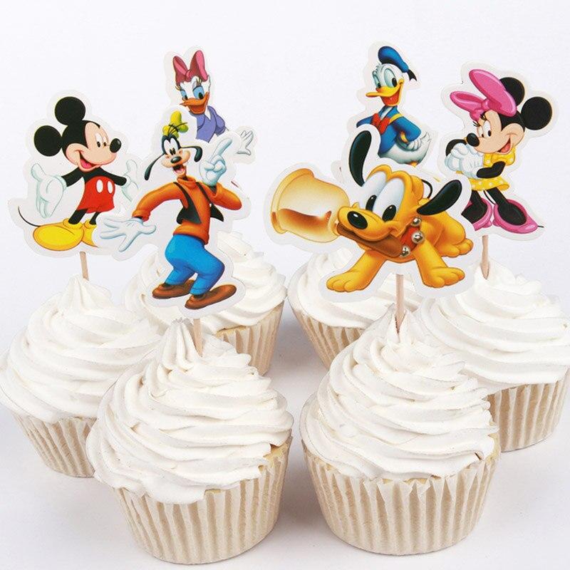 Recién llegado 24 uds/48 ps Donald y Daisy Duck Mickey Minnie Mouse Cupcake topper para decoración de pastel cumpleaños proveedores de fiesta de bodas