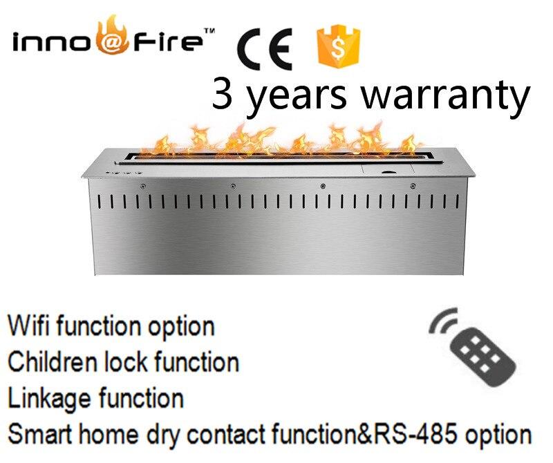 Envío gratis a la puerta 24 pulgadas control remoto inteligente negro o plata chimeneas de etanol eléctrico