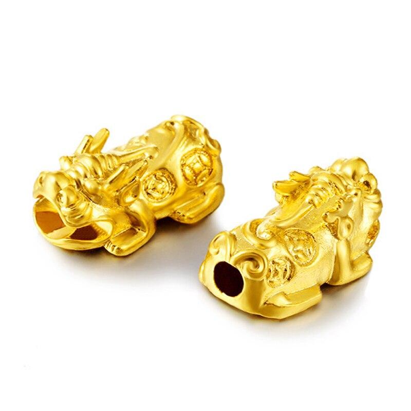 Vietnam alluvial ouro pixiu contas de alta qualidade não desvanece-se bronze soild pixiu pulseiras grânulos para jóias que fazem acessórios de jóias
