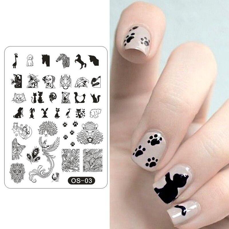 2017 Популярные Модные пластины для штамповки ногтей в виде животных, кошек, собак, павлина, леопарда, трафарет для ногтей, инструмент OS03