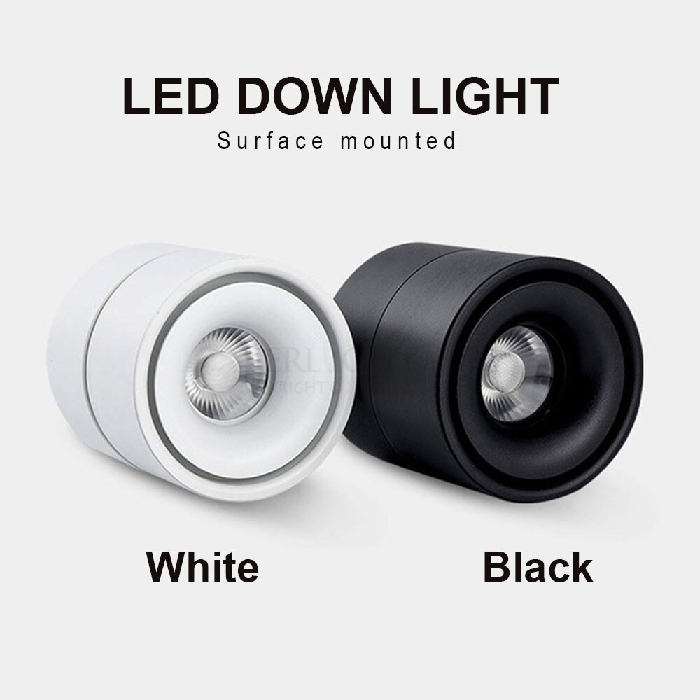 aisilan square led surface mounted cube ceiling downlight for room corridor hallway ac85 260v cob design spot light COB downlight Surface Mounted Black Body Lamp AC85-265V Spot Light 7w 10w 12w Rotatable Ceiling Lamp LED Spot Light