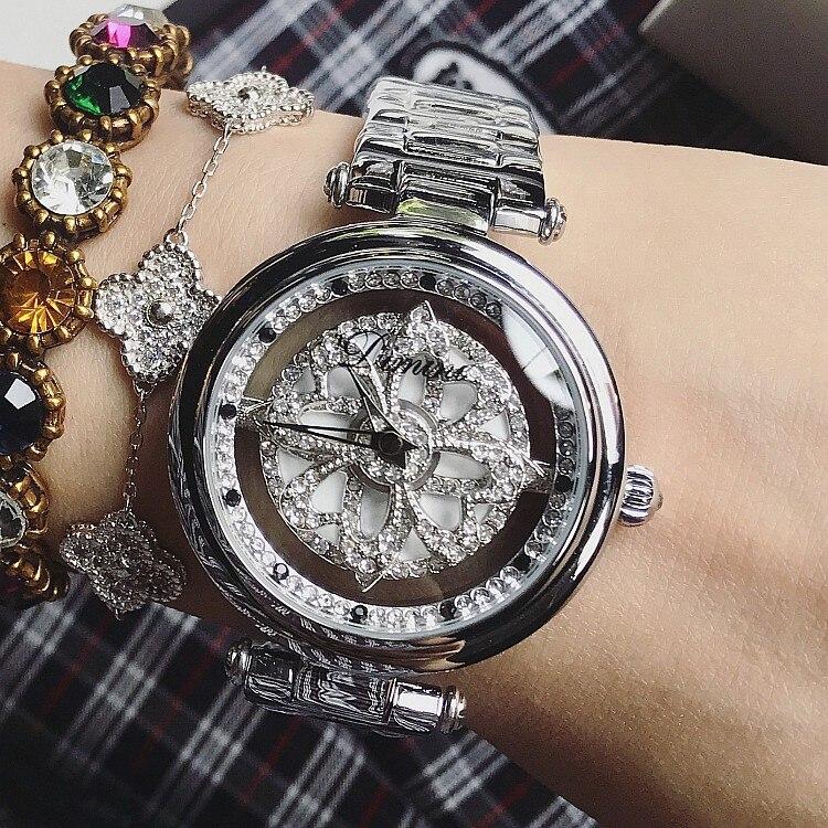ladies watch Women watches Shining Rotation Dress Watch Big Diamond Stone Wristwatch watch woman relogio montre female hour enlarge