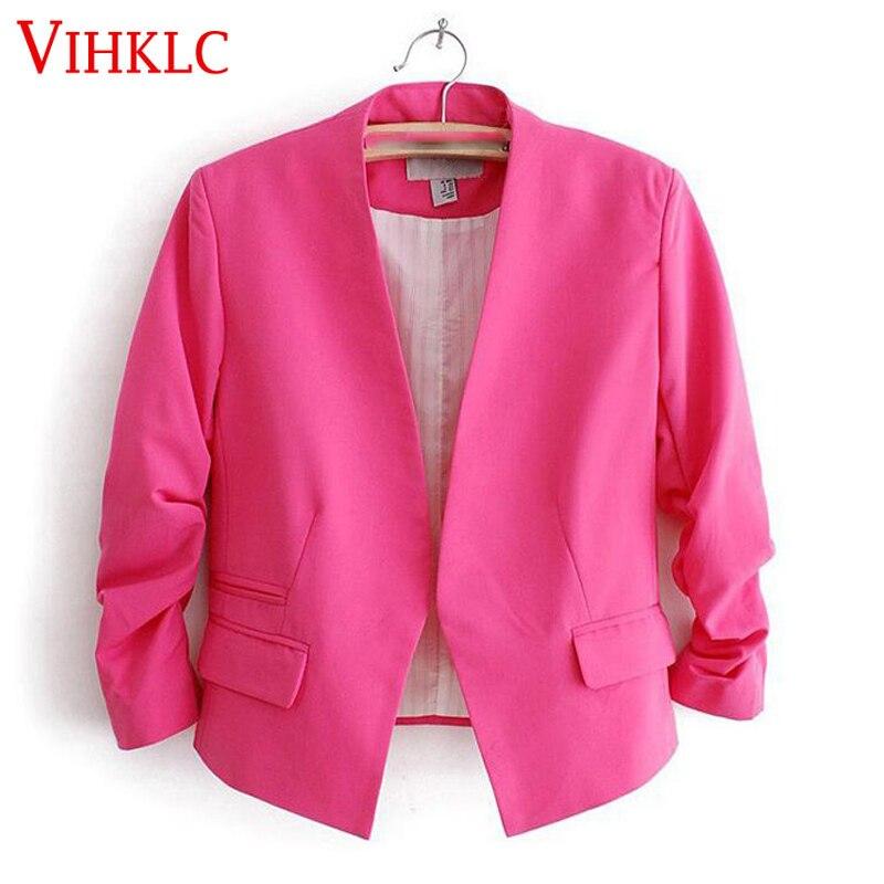 Primavera Blazer mujer Color caramelo chaqueta femenina bolsillos de manga larga ningún botón Slim Chaqueta corta tipo traje femenino L875