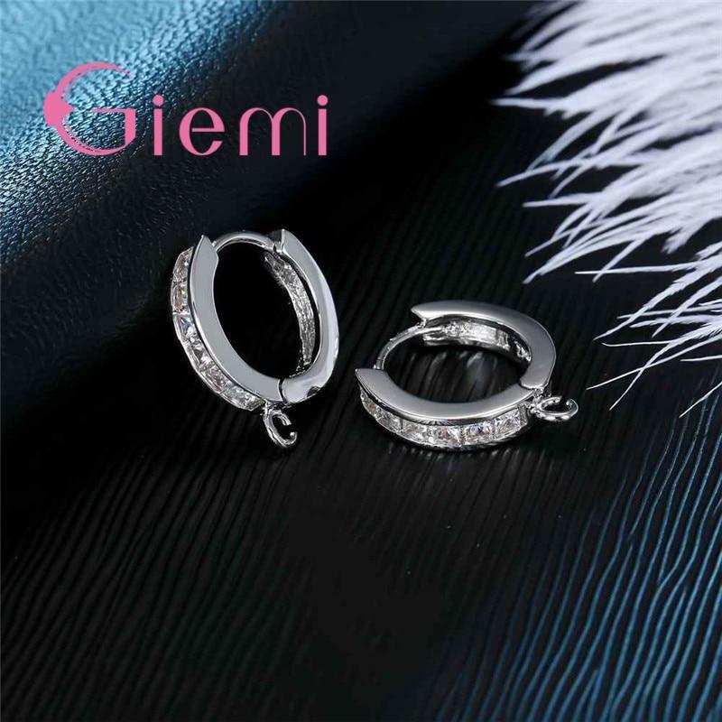 S moda brincos de argola 925 prata esterlina componentes cristal austríaco diy fazendo jóias acessório earwire encontrando