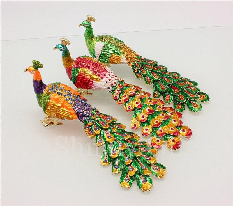 Caja decorativa para el hogar, regalos de boda, caja de abalorios de pavo real, caja de regalo brillante, caja de abalorios esmaltada