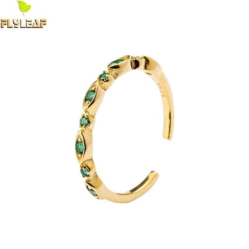 Flyleaf corona de circonia cúbica anillos de oro para mujeres 100% Plata de Ley 925 joyería fina de moda de alta calidad anillo abierto Simple