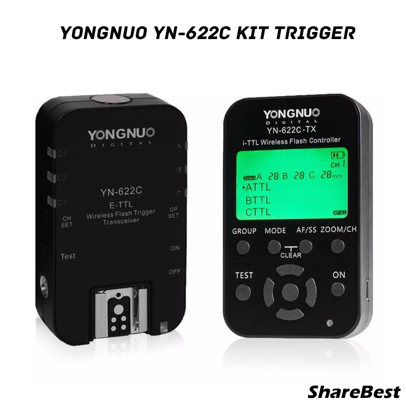 Yongnuo YN622 C kit (1x YN622C-TX + 1x YN622C RX) controlador de flash inalámbrico LCD E-TTL transceptor disparador para Canon DSLR