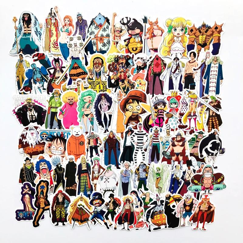 70 unids/lote de pegatinas de Anime de una pieza Luffy para coche, portátil, mochila de PVC, para el hogar pegatina, almohadilla para bicicleta PS4, etiqueta impermeable para maleta