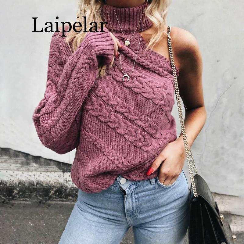 Laipelar One shoulder white turtleneck knit sweater female Fashion long sleeve casual pullover Women 2019 autumn winter jumper drop shoulder open knit jumper